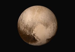 Global Mosaic of Pluto Shown in True Color Image