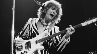 Yes bassist Chris Squire onstage in the 1970s