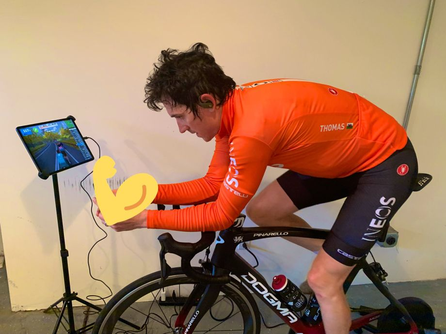 Geraint Thomas rides on Tour of Watopia on Zwift as races are cancelled due to Coronavirus