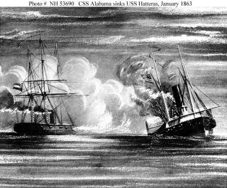 USS Hatteras and CSS Alabama in battle
