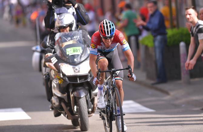 Bob Jungels (Quick-Step Floors) on his way to winning 2018 Liege-Bastogne-Liege