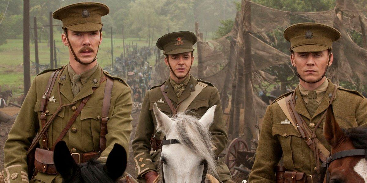 tom Hiddleston and Benedict Cumberbatch in War Horse with Steven Spielberg