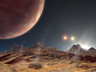 An artist's depiction of the view from a moon's surface of a gas giant and three suns.