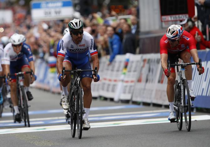 Peter Sagan (Slovakia) out-sprints Alexander Kristoff (Norway) to win his third straight world title