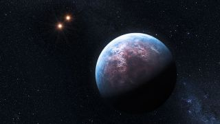 Artist's concept of Gliese 667, one of two multiple-star systems known to host planets below 10 Earth masses.