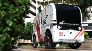 Huawei's driverless vehicle at a hospital in Thailand.