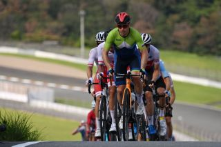 Slovenias Jan Tratnik leads the second group during the first lap of the Fuji International Speedway in the mens cycling road race of the Tokyo 2020 Olympic Games in Oyama Japan on July 24 2021 Photo by Greg Baker AFP Photo by GREG BAKERAFP via Getty Images