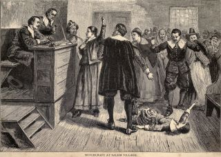 A scene from the Salem witch trials.