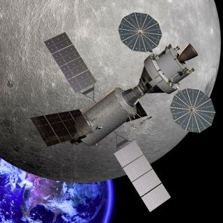 This artist's illustration shows NASA's Orion capsule near the far side of the moon.