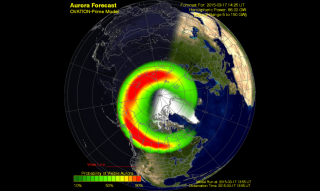 This NOAA image shows the forecast for aurora activity on March 17, 2015 during a severe solar storm. NOAA space weather experts say there is a chance for auroras as far south as the mid-United States, along a line extending through Tennessee.