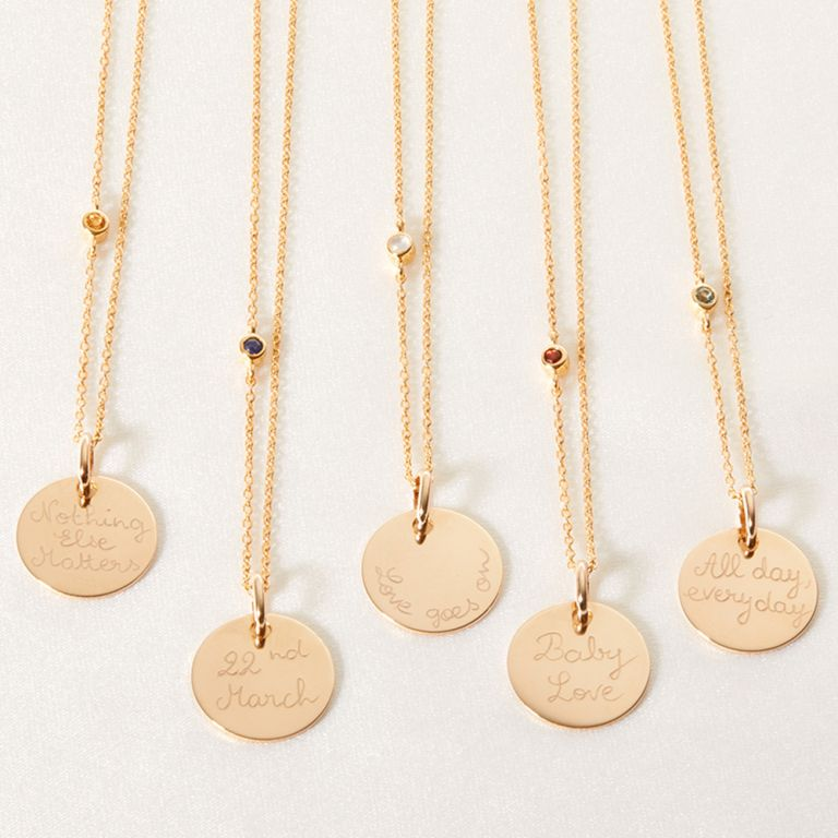 Personalised gold chain necklace with birthstone
