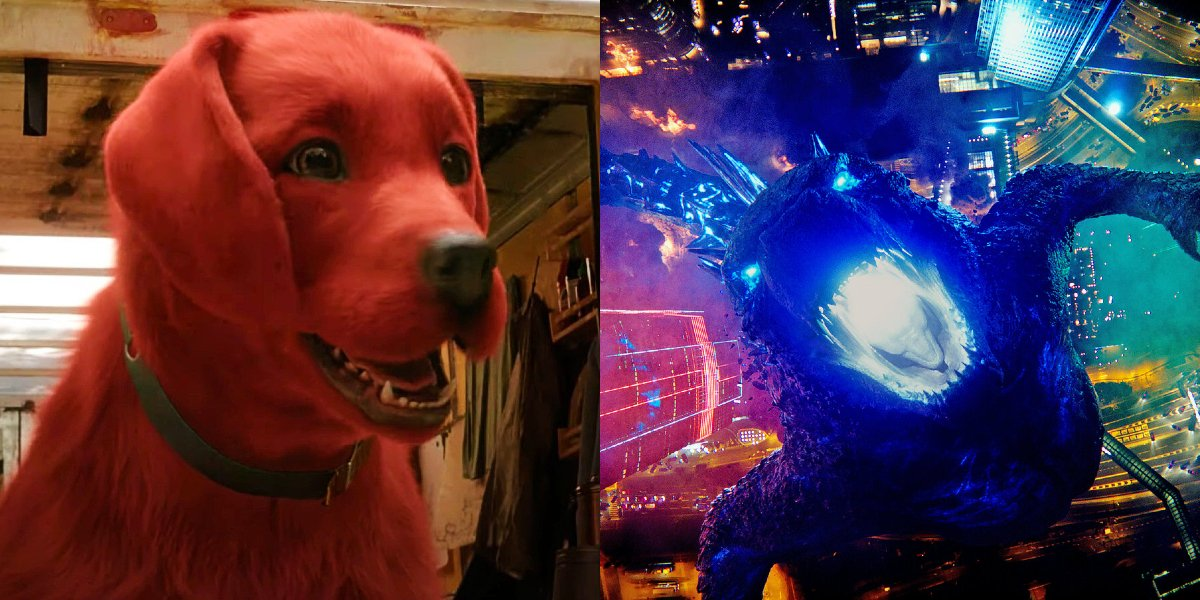 Clifford the big red dog and Godzilla pictured side by side.
