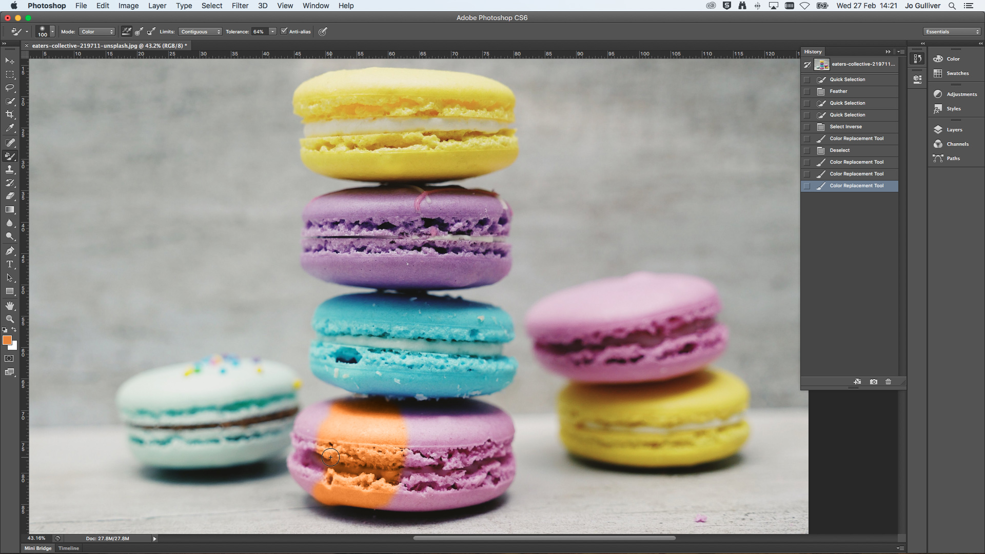 Stack of macrons in Photoshop with a section of the colour changed