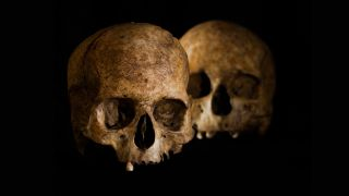 Archaeologists found two Stone Age skulls in Dehesilla Cave on the Iberian peninsula. One of the skulls (front) showed signs of a type of brain surgery called trepanation.
