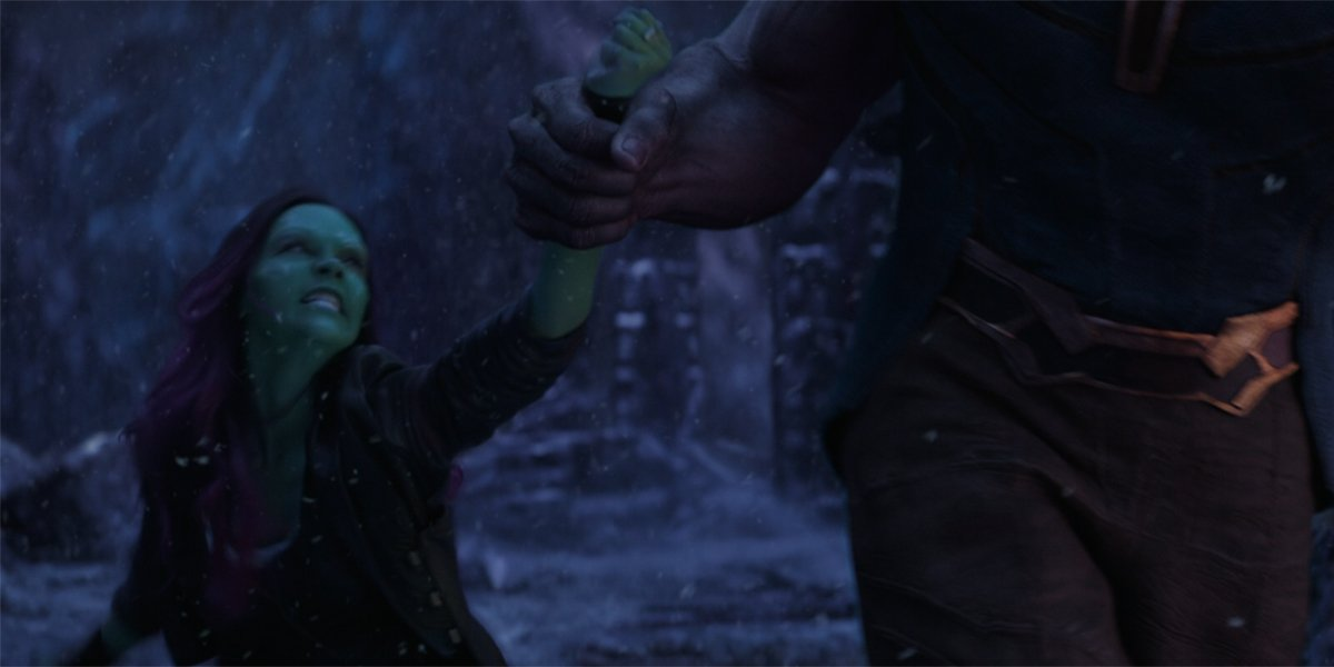 Gamora dragged by Thanos Avengers Infinity War
