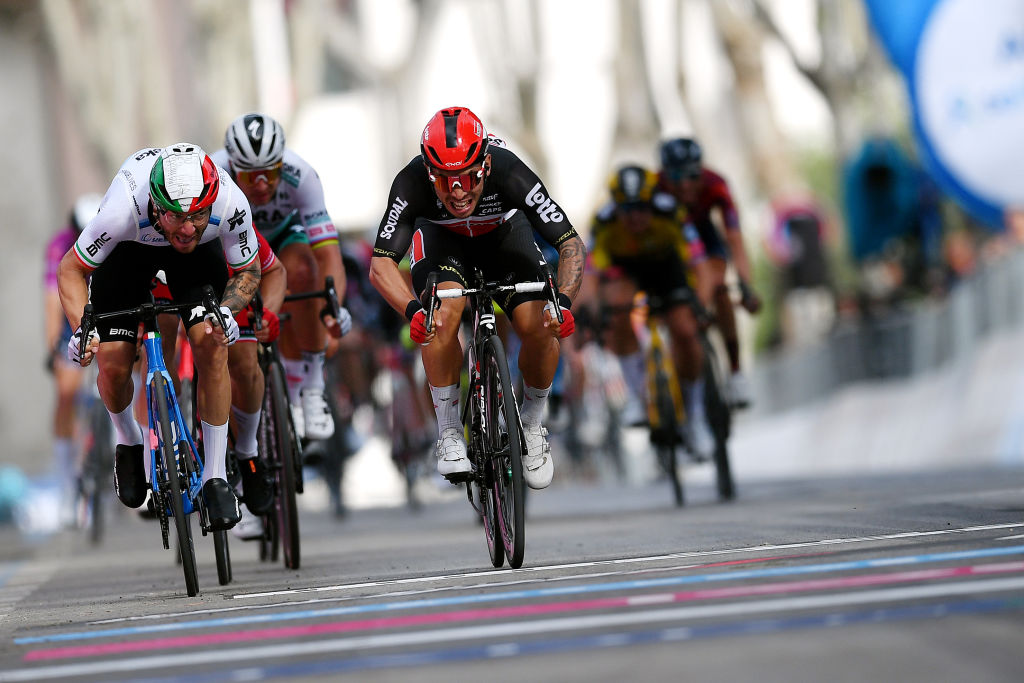 CATTOLICA ITALY MAY 12 Caleb Ewan of Australia and Team Lotto Soudal Giacomo Nizzolo of Italy and Team Qhubeka Assos sprint at arrival during the 104th Giro dItalia 2021 Stage 5 a 177km stage from Modena to Cattolica girodiitalia Giro on May 12 2021 in Cattolica Italy Photo by Stuart FranklinGetty Images