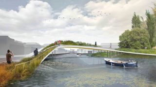 Urban park concept art showing a green walkway over a lake