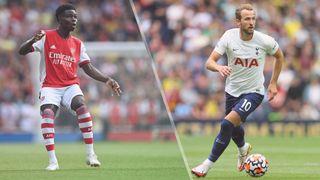 Bukayo Saka of Arsenal and Harry Kane of Tottenham Hotspur