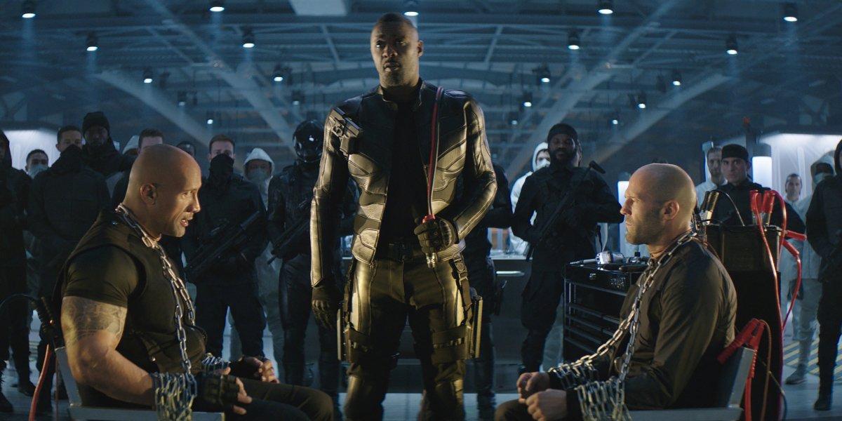Dwayne Johnson, Idris Elba, and Jason Statham in Hobbs and Shaw