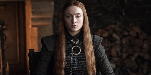 sophie turner in game of thrones season 8 as the queen of the North