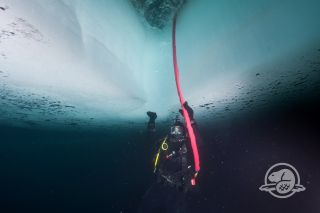 Here a diver under the ice at the site of the HMS Erebus shipwreck, located Queen Maud Gulf between Victoria Island and mainland Canada.