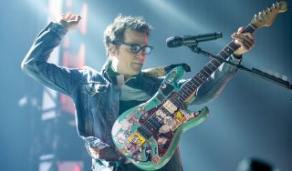 Rivers Cuomo of Weezer performs at Ak-Chin Pavilion on August 2, 2016 in Phoenix, Arizona.