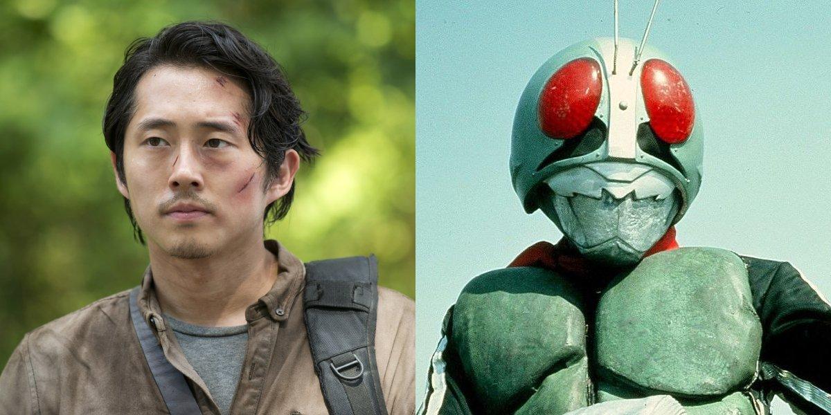 Steven Yeun and Kamen Rider