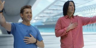 Alex Winter and Keanu Reeves give an excellent salute in Bill and Ted Face The Music