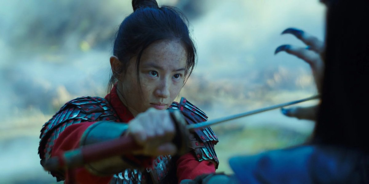 Mulan defends herself with a sword