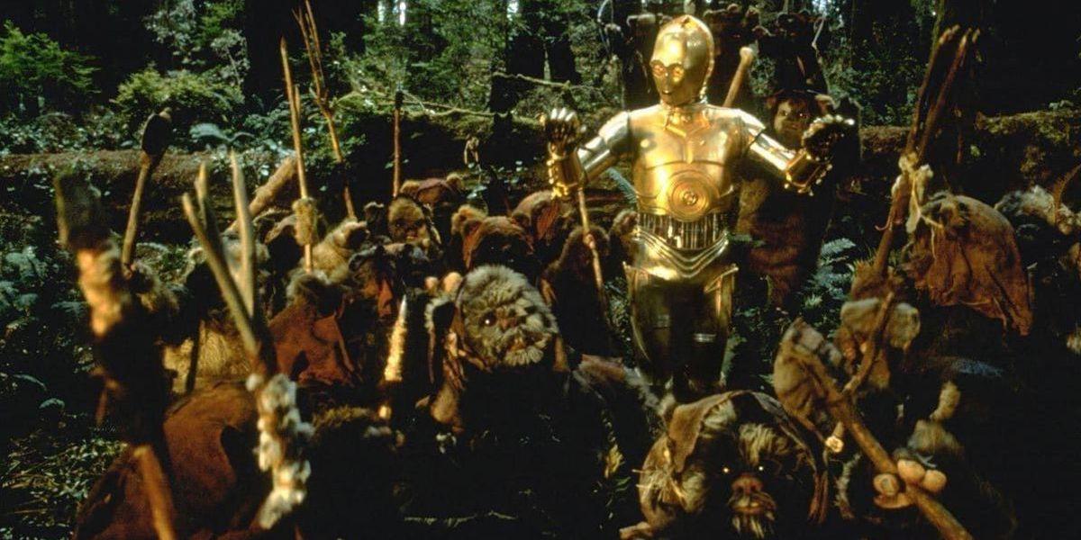 C-3PO and the Ewoks in Star Wars: Return of the Jedi
