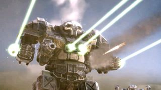 A battlemech fires lots of lasers in BattleTech.