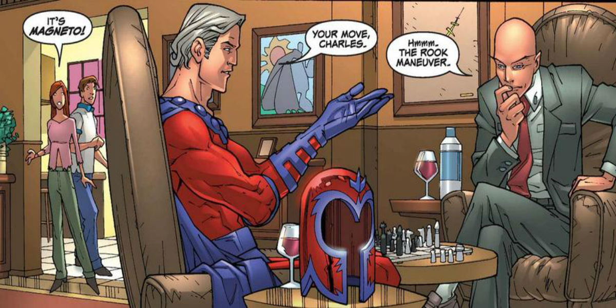 Magneto and Xavier play chess