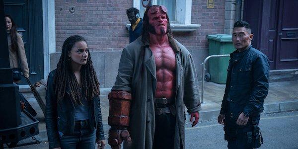 Sasha Lane, David Harbour and Daniel Dae Kim in Hellboy