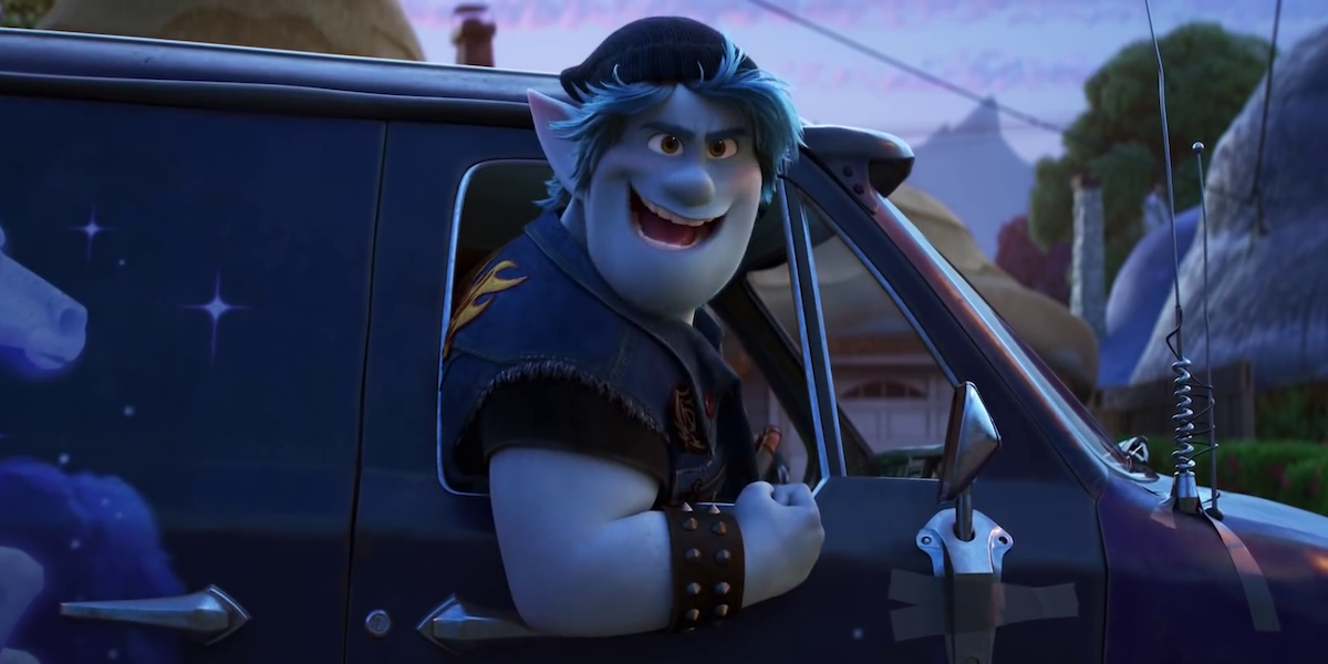 Chris Pratt as Barley Lightfoot in a van in Pixar's Onward