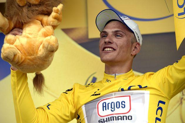 Marcel Kittel on podium, Tour de France 2013, stage one