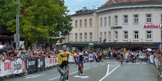 A pole in the middle of the road sparked a crash at the finish of the GP Kranj in Slovenia