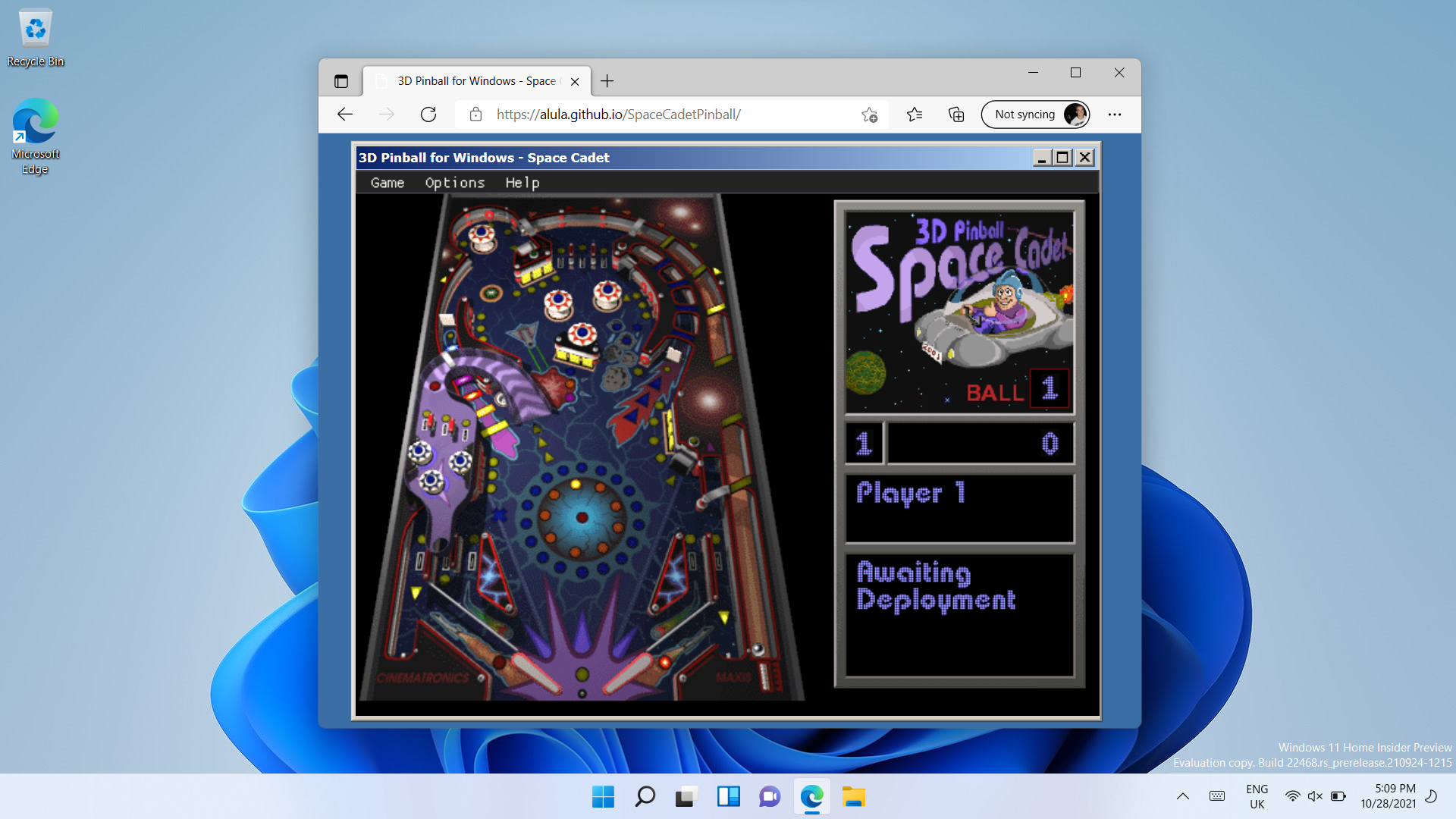 3D Pinball running in Edge browser, in Windows 11
