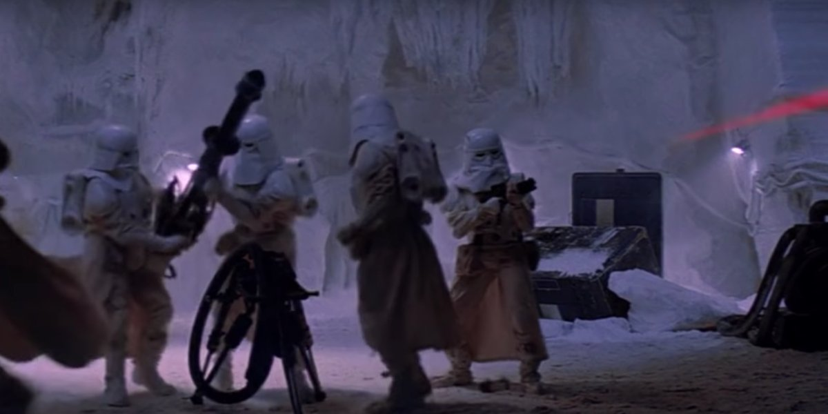 Snowtroopers attack the rebel base on Hoth in Star Wars: The Empire Strikes Back