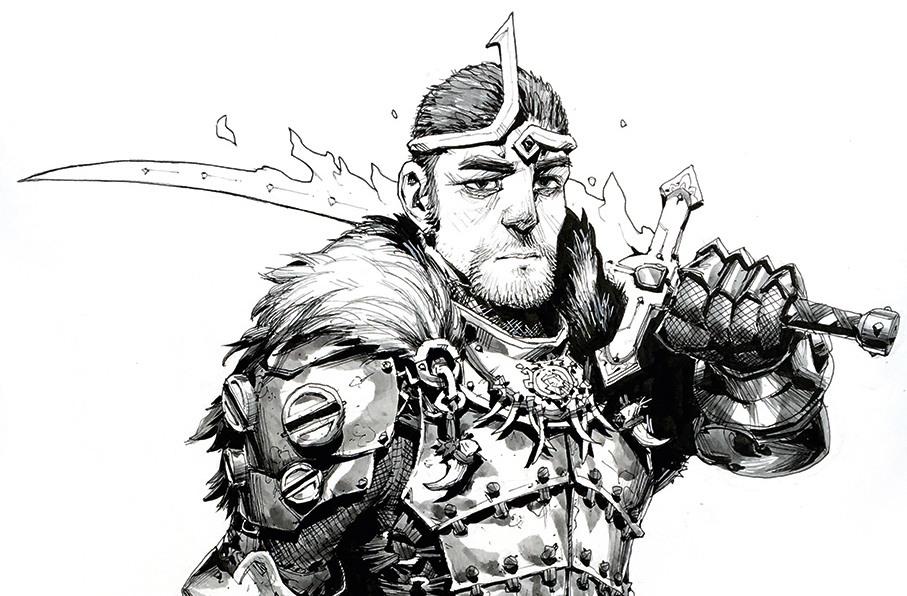 Character holds sword over his shoulder