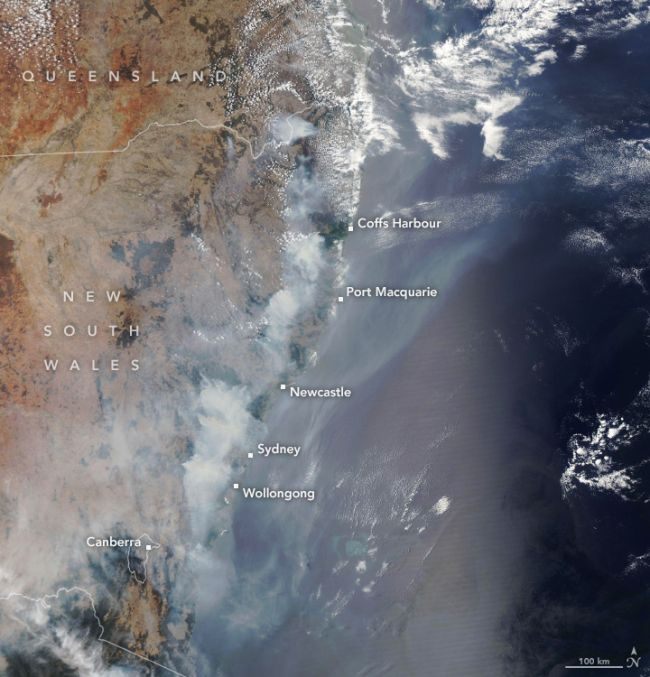 NASA's Aqua satellite used its Moderate Resolution Imaging Spectroradiometer to capture this view of wildfires raging on Australia's eastern coast on Dec. 9, 2019. The wildfires were fueled by unusually hot weather and a potent drought that primed the region in October 2019, according to the space agency.