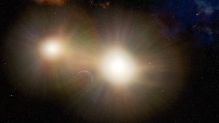 This illustration shows how the light created by two stars in a binary system may occult Earth-sized planets from detection by spacecraft like NASA's TESS mission.