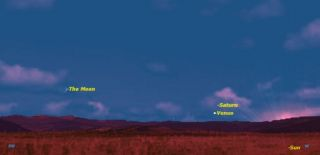 Skywatching map of planets Venus and Saturn
