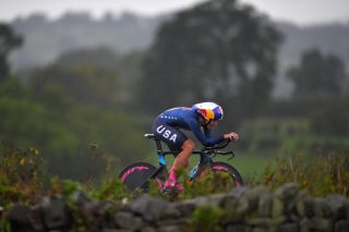 Chloe Dygert Owen races in the Yorkshire rain