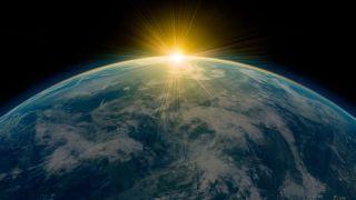 Sunrise over planet Earth.