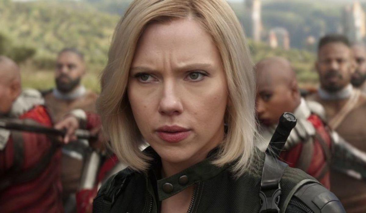 Black Widow blonde on Wakanda in Avengers: Infinity War