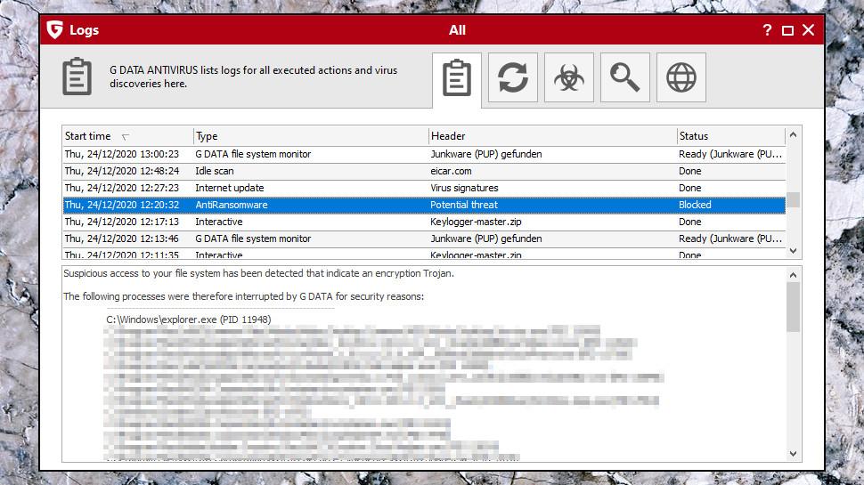 Anti-ransomware Logs