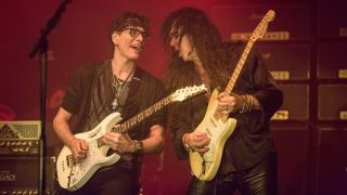 Guitarist Yngwie Malmsteen (R) and Steve Vai of Generation Axe performs on stage at Humphrey's on April 10, 2016 in San Diego, California