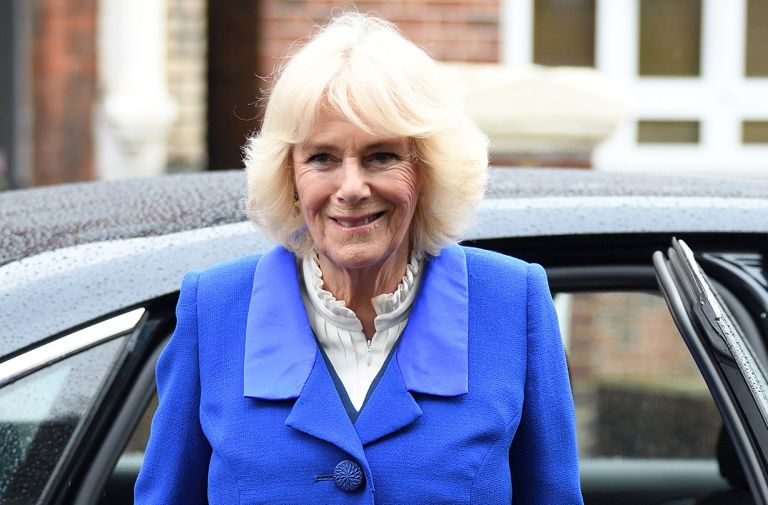 camilla duchess cornwall blue coat local london visit