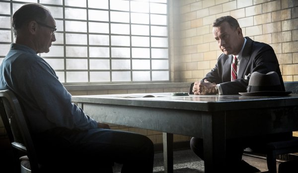 Bridge of Spies Mark Rylance being questioned by Tom Hanks in an interrogation room