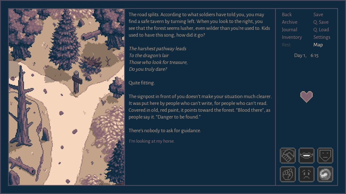 Roadwarden's demo lets you test its cool attitude-driven conversation system